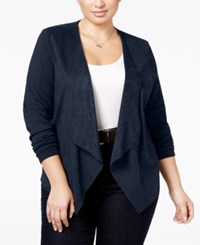 Inc International Concepts Plus Size Faux Suede Draped Cardigan Only At Macy's Deep Twilight