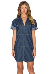 7 For All Mankind V Neck Mini Dress Blue