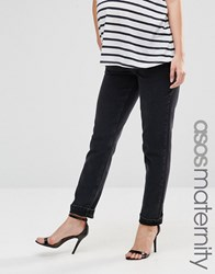 Asos Maternity Farleigh Slim Mom Jean In Washed Black Washed Black