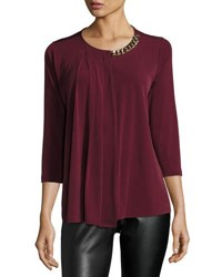 Michael Kors 3 4 Sleeve Half Chain Top Merlot
