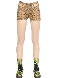 Jeremy Scott Leopard Print Washed Cotton Denim Shorts