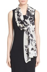 Women's St. John Collection Floral Print Silk Georgette Scarf
