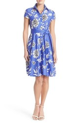 Women's Chetta B Floral Sateen Fit And Flare Shirtdress