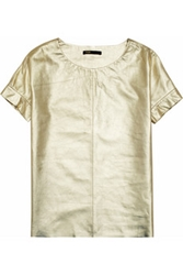 Maje Suzanne Metallic Leather T Shirt Net A Porter.Com