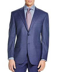 Canali Siena Blue Black Box Pattern Classic Fit Sport Coat Blue Black Patterned