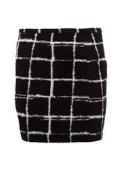 Morgan Graphic Check Print Skirt Black
