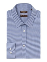 Corsivo Men's Savian Classic Dogtooth Shirt Blue