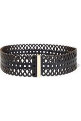 Tory Burch Perforated Leather Belt Blue
