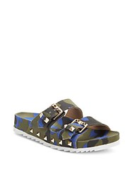 Ash Ubud Studded Camo Print Canvas Slide Sandals Pink