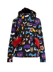 Fendi Wonders Eye Print Fur Trim Ski Jacket Black Print