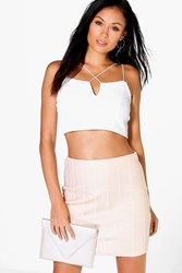 Boohoo Metallic Bandage Mini Skirt Gold