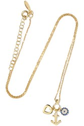 Aamaya By Priyanka Anchor Heart Gold Plated Topaz And Sapphire Necklace