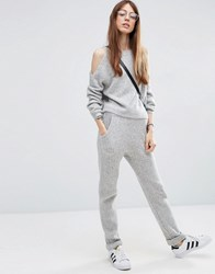 Asos Lounge Knitted Joggers In Rib Grey