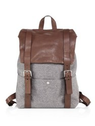 Brunello Cucinelli Leather And Wool Backpack Grey Brown