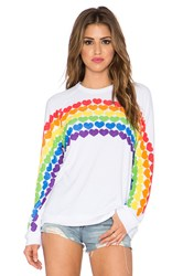 Lauren Moshi Lovie Rainbow Heart Boyfriend Sweatshirt White