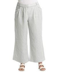Lafayette 148 New York Plus Wide Leg Flared Linen Pants Vapor Melange