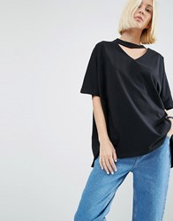 Asos White Oversized T Shirt With V Cut Out Detail Black