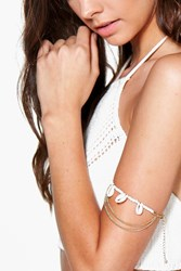 Boohoo Shell Chain Arm Cuff Gold