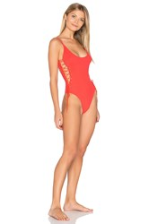 Sauvage Side Lace One Piece Red