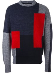 Oamc Colour Block Jumper Blue