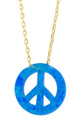 18K Gold Plated Sterling Silver Created Blue Opal Peace Sign Pendant Necklace