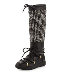 Isabelle Python And Tweed Knee Boot Black Moncler