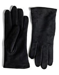 Lord And Taylor Suede Gloves Black