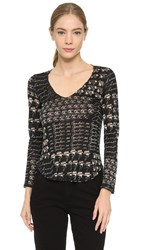 Wgaca Chanel Long Sleeve Top Previously Owned Black Multi