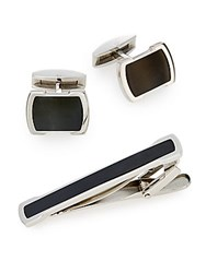 Lotus Cuff Links And Tie Bar Set Black