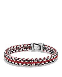 David Yurman Woven Box Chain Bracelet In Red Red Silver