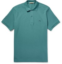 Burberry Brit Slim Fit Cotton Pique Polo Shirt Blue