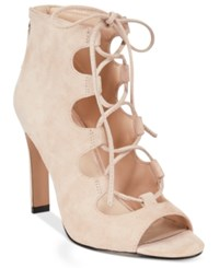 Nine West The Unfrgetabl Lace Up Dress Sandals Women's Shoes Light Pink Suede