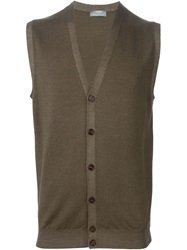 Barba Sleeveless Cardigan Brown