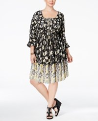 American Rag Trendy Plus Size Printed Fit And Flare Peasant Dress Only At Macy's Classic Black Combo