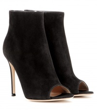Gianvito Rossi Suede Peep Toe Ankle Boots Black