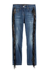 Roberto Cavalli Straight Jeans With Leather Fringe Blue