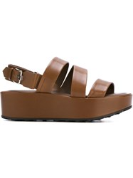 Tod's Flat Platform Sandals Brown