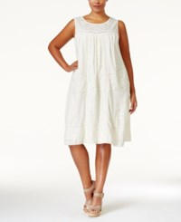 Lucky Brand Plus Size Eyelet Shift Dress Natural