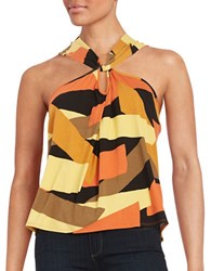 Highline Collective Printed Twist Front Tank Top Tribal Print