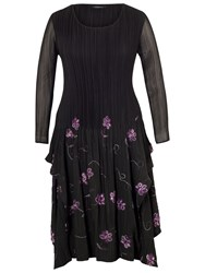 Chesca Embroidered Pleat Dress Black