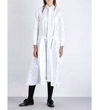 Thom Browne Pleated Cotton Poplin Shirt Dress White