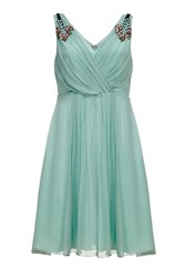 Almost Famous Embellished Silk Dress Green