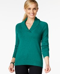 Karen Scott Shawl Collar Long Sleeve Sweater Only At Macy's Marine Green