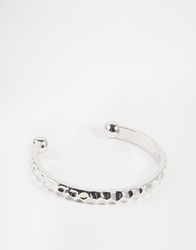Asos Bangle With Hammered Finish Silver