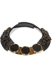Marni Leather Horn And Crystal Necklace Black