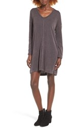 Lush Women's Rib Knit Shift Dress Grey Black
