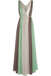Halston Striped Crinkled Chiffon Gown
