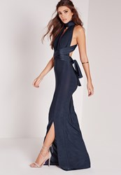 Missguided Slinky Mutliway Maxi Dress Navy Blue