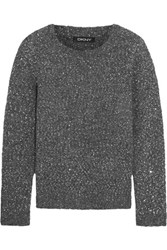 Dkny Sequined Textured Knit Sweater Anthracite