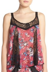 Band Of Gypsies Lace Inset Floral Camisole Pink